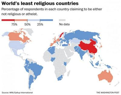 world's least religious countries